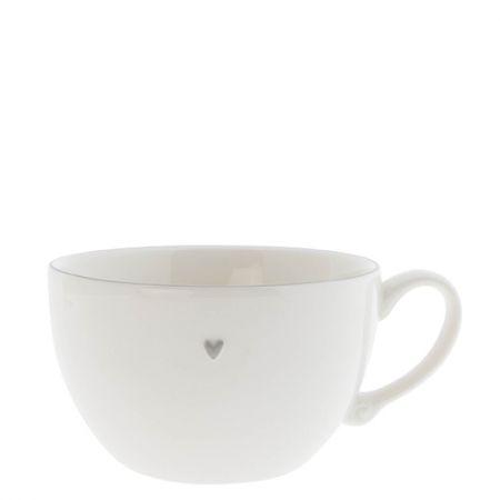 Soup Bowl White /edge Grey Sm 13 cm