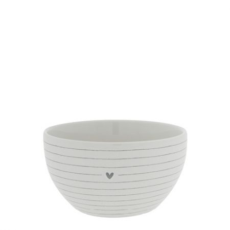 Bowl White/Stripes with Heart in Grey Dia 13x7cm