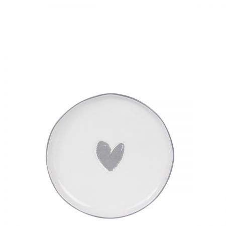 Cake Plate 16cm White/Heart in Grey