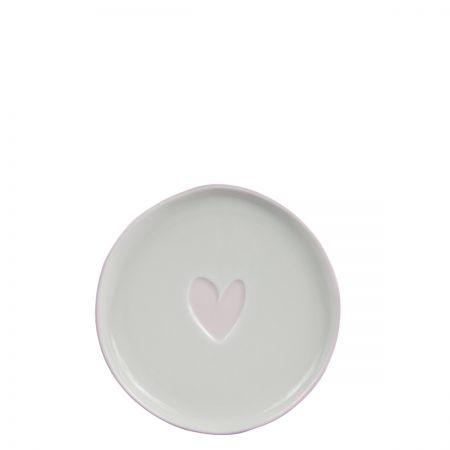Cake Plate 16cm White/Heart in Rose