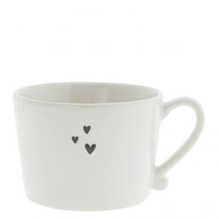 Cup White/3 Hearts 10x8x7 cm