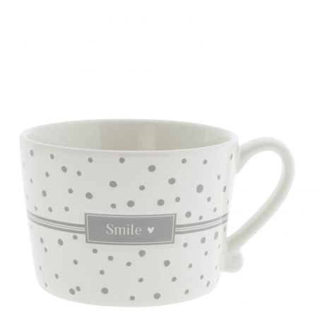 Cup White Dots in Grey / Smile10x8x7 cm