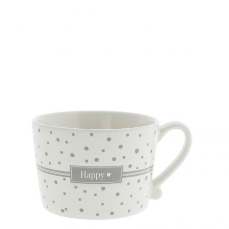 Cup White sm Dots in Grey/ Happy  8.5x7x6cm