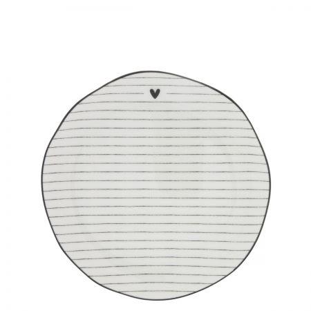Dessert Plate Stripes White/edge black 19 cm