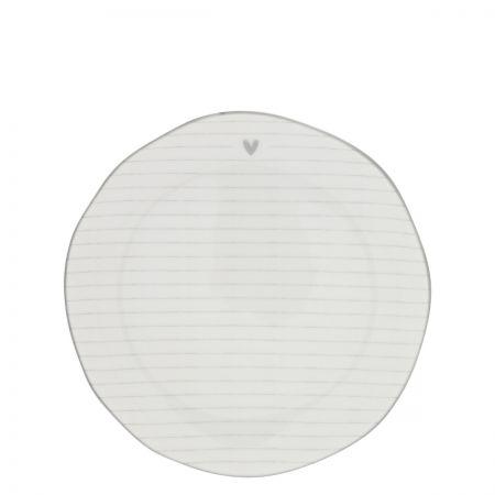 Dessert Plate Stripes White/edge grey 19 cm