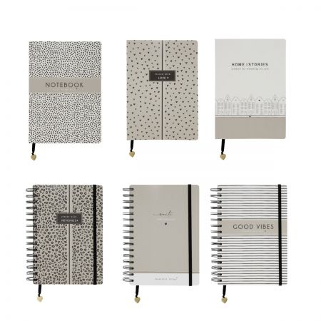 Book Notes A5 Ass 6x6 (3xWire O & 3 xPaperback)