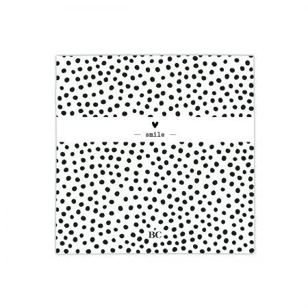 Napkin White/bl dots smile 20 pcs 12,5x12,5 cm