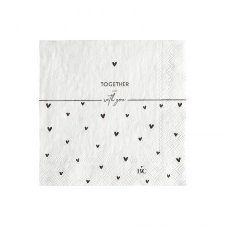 Napkin White/Heart Together 20 pcs 12,5x12,5cm