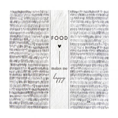 Napkin White/Stripes Food 20 pcs16,5x16,5cm